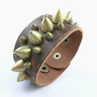 Wholesale Leather Spiked Wristbands Wholesale - Punk Rock Three Rows Spikes Rivet Gothic Biker Wide Cuff Genuine Leather Bracelets & Bangles Wristband For Women Men Boys Gift