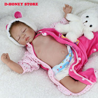 Wholesale Realistic Silicone Baby Doll - 55cm Soft Silicone Reborn Dolls Baby Realistic Doll Reborn 22 Inch Full Vinyl Boneca BeBe Reborn Doll For Girls