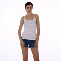 Wholesale Beige Sequin Tank Top - Europe Fashion Summer spaghetti strap nightclub tank tops Silver Sequin top