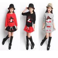 Wholesale Baby Suits Dress Retail - Wholesale- 2016 Retail New 100% cotton Baby girl Suit set Kids clothes fashion Long sleeve T-shirt girls dress girl Party dress A1039