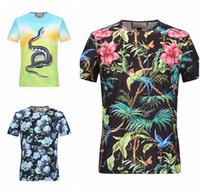 Wholesale Silk Shirts For Men Xxl - 2017 new summer cotton T-shirt floral print fashionable short-sleeved T-shirt for men's brand t-shirts men's luxury M-L-XL-XXL-XXXL