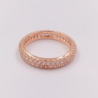 Wholesale Inspiration White - Rose Gold Plated & 925 Sterling Silver Ring Inspiration On Within Ring European Pandora Style Jewelry Charm Ring Gift 180909CZ