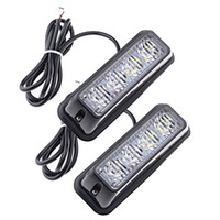 4-LED blanc Ambre imperméable à l'eau Beacon Flash Attention Strobe Light Bar 16 différents flashing voiture SUV Pickup Truck Van (2 pcs)