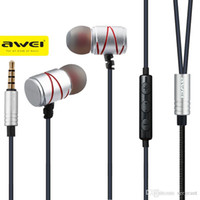 Wholesale Original Awei ES TY mm Metal Earphone In Ear Wired Control Earphones With Smart Buttons Microphone for PC Andriod Phones