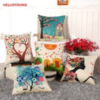 Wholesale Bird Chair - BZ058 Luxury Cushion Cover Pillow Case Home Textiles supplies Lumbar Pillow Birds and trees chair seat
