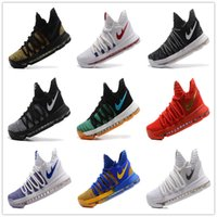 Wholesale Clear Plastic Men Shoe Box - 2017 Newest Kevin Durant Basketball Shoes Airs KD 10 Top quality Training Sports Shoes 9 colors University Red Oreo White Chrome With Box