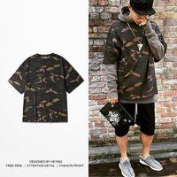 Wholesale Chinese Men S Clothes Fashion - Kanye HEYBIG Brand Clothing Season 1 Camo Tee Street Fashion T-shirts Men Oversized Camouflage T shirt Chinese Size