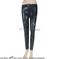 Wholesale Light Gold Leggings - Black Sexy Latex Leggings with Zipper Buttons At Front Fetish Bondage Rubber Pants Jeans Trousers Bottoms