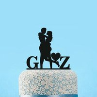 Wholesale Initials Cake Topper - Wholesale- glitter Wedding Cake Topper Couple Silhouette Personalized Initials for hugging Bride and Groom