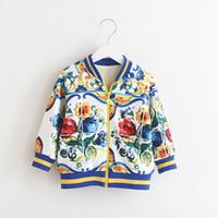 Wholesale Wholesale Clothing Designer Jackets - Printing Floral Jacket Bomers for Girls 2017 Winter Children Jackets with Fleece Keep Warm Designer Brand Boutique Toddler Clothing