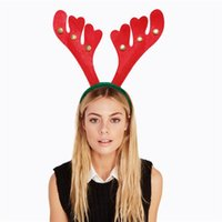Wholesale Band Christmas Ornaments - Christmas decorations present fashion DIY Party Red Christmas antlers hair bands high quality ornaments 4 style Party Supplie wholesale