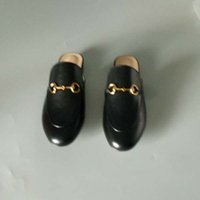 Wholesale European High Heels - Classic European luxury brand, new style shoes, sandals, slippers, pure color genuine metal buttons, decorative round top, high heel