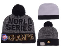 Wholesale Team Hat Brands - Chicago Cubs Pom Beanies 2017 World Seris Champs Hotselling Sport Team Knitted Skullies Authentic Brand Winter Hats YD