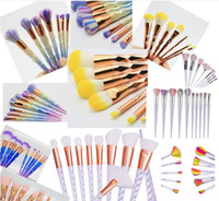 Wholesale Drop Shipping Fishing - 7pcs Mermaid Fish Makeup Brushes Set Rainbow Handle Cosmetics Cream Face Powder Foundation Eyeshadow Brush Kits Beauty Tools Drop Shipping