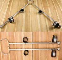 bondage sex maschinen großhandel-Sex Machine Bondage BDSM Toys Feste Unisex-Handschellen und Fußfesseln aus Edelstahl / Sexspielzeug mit offenem Pranger aus Edelstahl