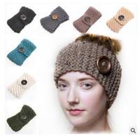 Wholesale Cheap Knitted Flowers - Button Hairband Women 15 Colors Crochet Headband Knit Flower Ear Fashion Winter Warm Adjustable Headwrap Cheap Christmas Gifts