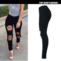 Wholesale Slim Ripped Girl - Big hole vintage tight pants women cool girl jeans scratched mid waist trousers slim black ripped boyfriend jeans for women