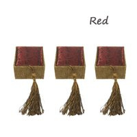 3PCS Linen Tassel Storage Case Jóias Display Gift Packaging Ring Box 3 Cor disponível