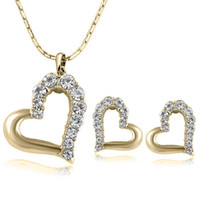 Wholesale double heart necklace diamond - 2017New Fashion Lovely Cute Double Heart Necklace and Earring Crystal Jewelry Sets For Women Girls Jewellery NO281