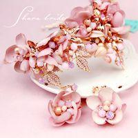 Wholesale Pink Necklace Lobster Clasp - Veu De Noiva Pink Rhinestone Handmade Crystal Beads Flower Hair Bridal Crown Prom Wedding Hair Accessories 2017 Chapeau Mariage