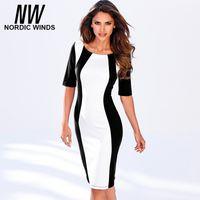Wholesale Nordic Shorts - Wholesale- Nordic winds 2016 autumn women's new fashion o-neck half sleeve black white splice vintage bodycon career dress