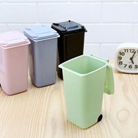 Wholesale Plastic Desk Organizers - Creative Multi Colors Plastic Desktop Garbage Cleaning Mini Small Trash Can Desk Organizer Dustbins with Lid and Wheels ZA2799