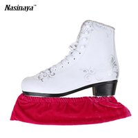 Wholesale Adults Ice Skates - Wholesale- Child Adult Velvet Ice Skating Figure Skating Skate Blade Cover Guard Solid Color Hockey Skate Accessory Athletic Elastic