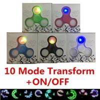 Wholesale Switch Plastic Off - Pattern LED Hand Spinners 10 Mode Fidget Spinner With Switch ON OFF Triangle Finger Spinning Top Decompression Fingers Tip Tops Toys