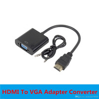 Wholesale Hdmi Analog Video Converter - High Quality HDMI To VGA Adapter Male To Famale Converter Adapter 1080P Digital to Analog Video Audio For PC Laptop Tablet