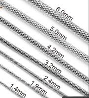 """Wholesale Wholesale Net China - Diameter 2MM 2.5mm 3mm 4mm 5mm 6mm 316L Stainless Steel Silver Steel Round Net Mesh Chain Necklace (18""""-22"""" inches)"""