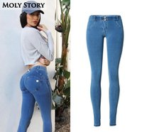 Wholesale Sexy Skinny Jeans - Wholesale- Ladies Push Up Jeans Women Skinny Sexy Stretch Low Rise Jeans Femme Stretch Slim Jean Denim Pants Plus Size
