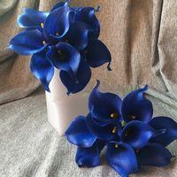 echte berührung blaue calla lilie großhandel-Hochzeit Königsblau Calla Lily Bouquet 10 Stiele Kobalt Blumen Real Touch Calla Lilien Latex Blumen für Bouquet Table Centerp dekorativ