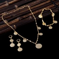 Wholesale Real Muslim Necklaces - Bracelet Necklace Earrings set Islamic Muslim Arab Coin Money Sign Women 22k Real Solid Gold GF Middle EasternAfrica