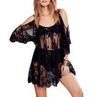 häkeln sticken großhandel-Frauen Strandkleid Sexy Strap Sheer Blumenspitze bestickt Crochet Sommer Kleider Hippie Boho Kleid Vestidos Beach Wear