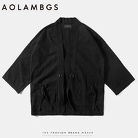 Wholesale Japanese Styled Jackets - Wholesale- Aolamegs Mens kimono japanese clothes streetwear fashion casual kanye west kimonos jackets harajuku japan style cardigan outwear