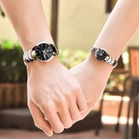 Wholesale Double Chronograph Watch Men - 2017 new tungsten steel watch men and women double calendar simple couple on the table quartz watch