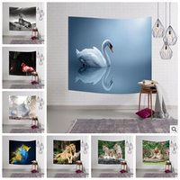 Wholesale Animal Print Mat - 23 Designs 153*102cm Digital Printed Animal Beach Towel Rectangle Hanging Wall Decor Towel Tapestry Soft Flamingo Yoga Mat CCA7243 20pcs