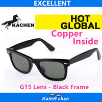 Wholesale Cat Materials - KaChen #5 901 50mm 54mm Plank Black frame G15 Glass material lens UV400 protection amber sunglasses glasses men women
