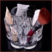 круглые дисплеи оптовых-Прозрачный акриловый круглый 12 отверстия помады макияж кисти держатель, разное дисплей тушь стенд косметический организатор макияж чехол для хранения коробка