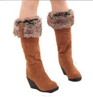winterschuhe hohe knie großhandel-Großhandel 2016 neue Frauen Stiefel Winter Fersen kniehohe Stiefel warme Baumwolle gepolsterte Schuhe Frauen hohe Keile Wildleder Leder Stiefel Schnee ba45