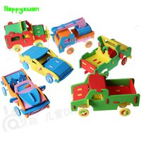 Wholesale model car kits children - HAPPYXUAN 6 pieces lot Cool Handmade 3D EVA Foam Puzzle Toy Racing Car Truck Vehicle Model Children DIY Craft Kits 3-6 years