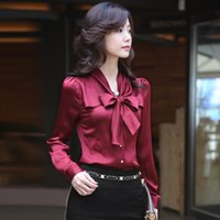 Wholesale Slim Fit Blouse - Elegant Ladies Silk Blouses Shirt Bow Knot Long Sleeve Office Work Blouse Slim-Fit Formal Dress Shirts S-3XL HOG1102