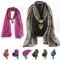 Wholesale Leopard Necklace Scarf - New jewelry scarf necklace Tassel polyester scarf fashion leopard leopard head pendant Ms accessories scarves