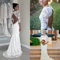 Wholesale Tulle Corded Lace - Keyhole Back Wedding Dresses in Corded French Lace Illusion Neckline Lace Dress Sheath Wedding Dress with Long Sleeves Bridal Gowns 2017