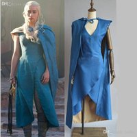 Wholesale Game Film Movies - Wholesale-Film Game of Thrones Daenerys Targaryen cosplay costume blue dress + cloak A Song of Ice and Fire Movie Cosplay Costume