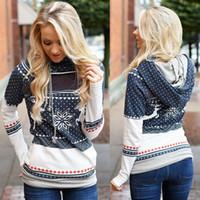 Wholesale Kawaii Sweatshirt - New Women'S Christmas Hoodies Pullovers Harajuku Deer Snowflake Printed Sweatshirts Kawaii Autumn Winter Brand Clothing LX4143