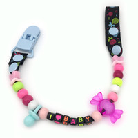 Wholesale Baby Names Black - Wholesale-Personalised -Any name Hand made black and white smart Funny beads dummy clip dummy holder pacifier clips soother chain for baby