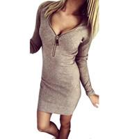 vestidos de mujer al por mayor-Scolour Hot New Women's Sexy con cuello en V cremallera flaco Mini vestido Club Party Dress Vestidos ropa de moda de otoño más el tamaño
