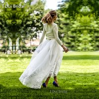 Real Photos outdoor wedding photos - 2017 New Boho Bridal Skirt Organza Lace Appliqued Fashion Outdoor Wedding Skirt Party Holiday Unique Design