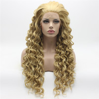 Wholesale Blonde Mix Half Wigs - Iwona Hair Curly Long Three Tone Honey Blonde Mix Wig 18#613 16 27HY Half Hand Tied Heat Resistant Synthetic Lace Front Wig
